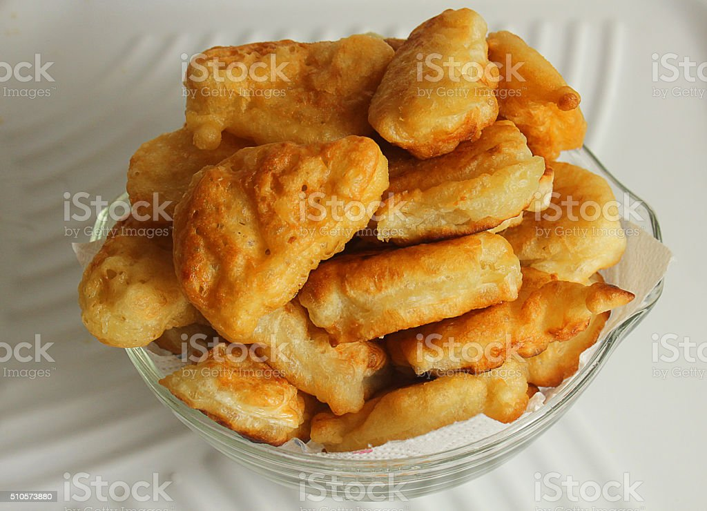 homemade panfried flatbread in a glass tureen stock photo