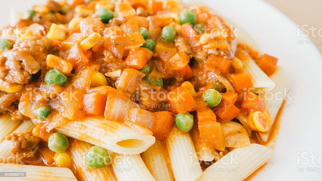 Homemade pasta and bean. stock photo