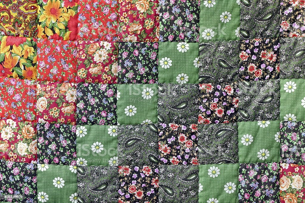Homemade Patchwork Quilt Background With Colorful Handmade Ethni stock photo