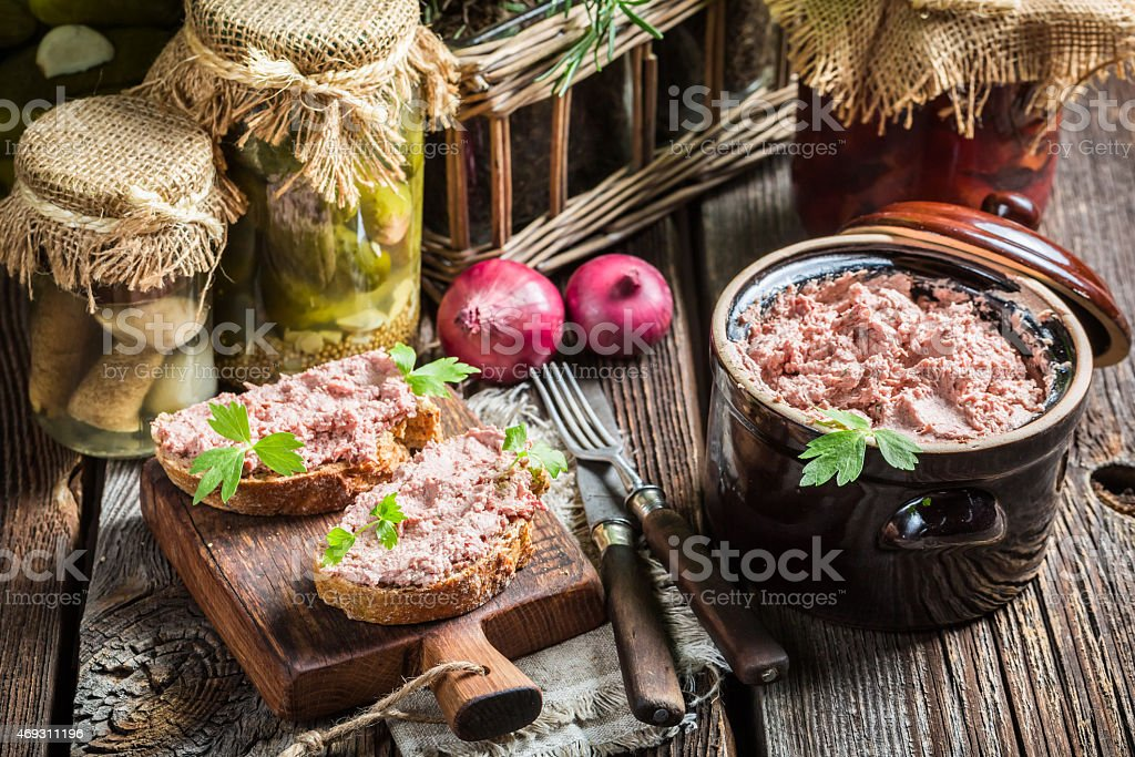 Homemade pate on sandwich stock photo