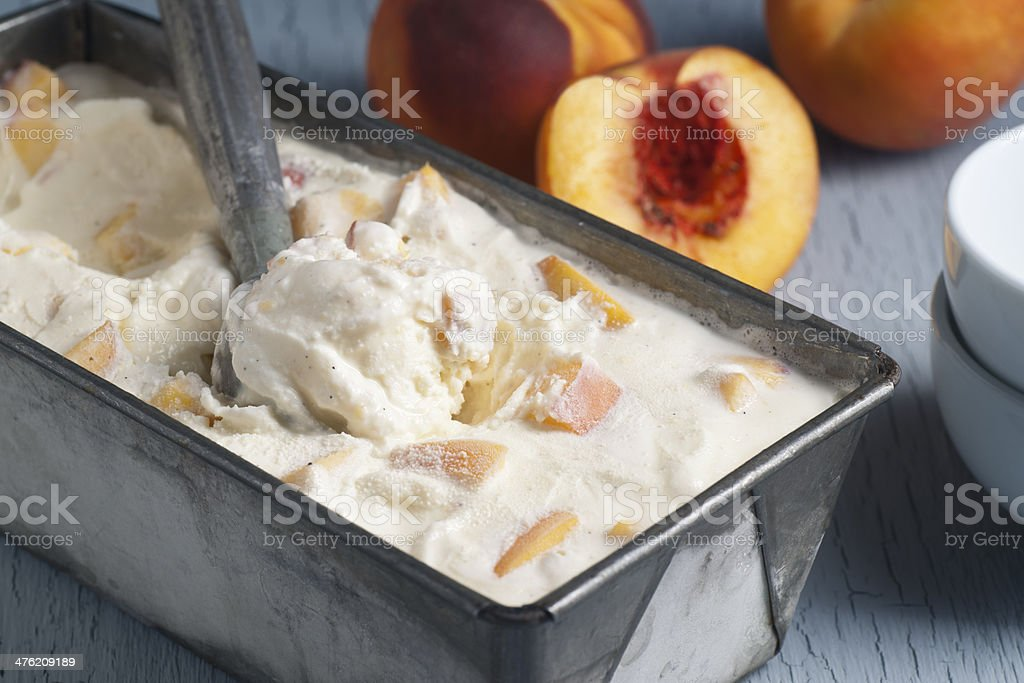 Homemade Peach Ice Cream stock photo