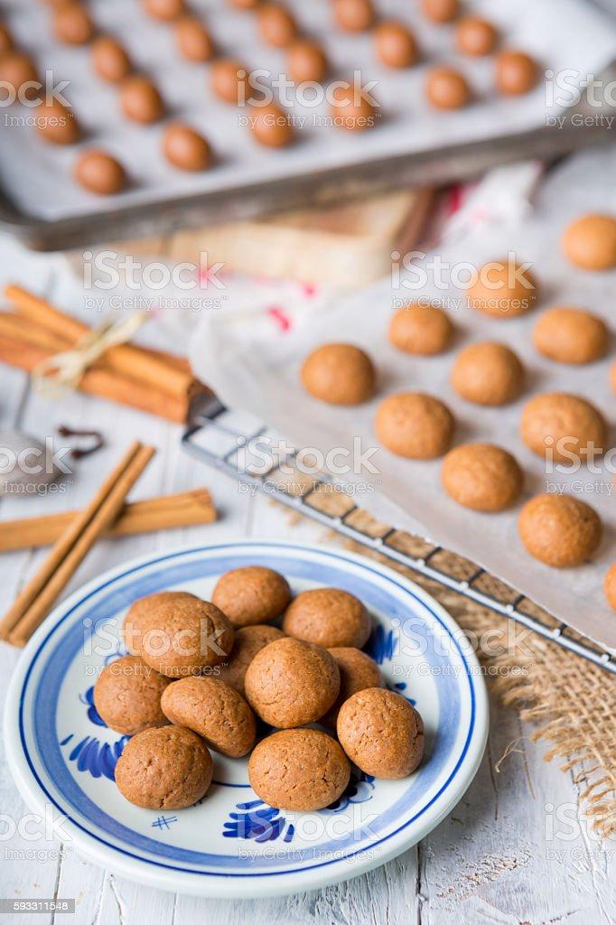 Homemade pepernoten or kruidnoten for Dutch holiday Sinterklaas stock photo