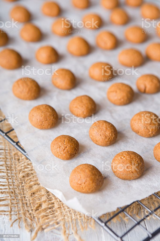 Homemade pepernoten or kruidnoten for Dutch holiday Sinterklaas stock photo