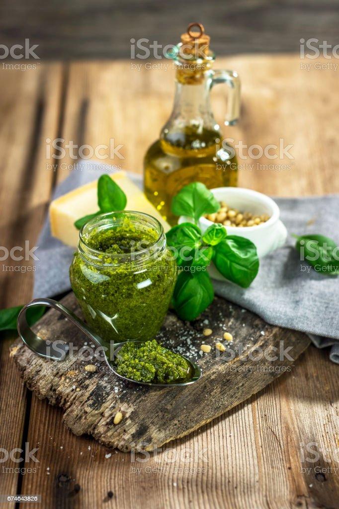 Homemade Pesto alla Genovese.....Tradizione Italiana stock photo