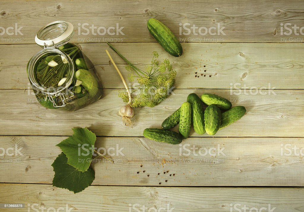 Homemade pickled cucumbers. Pickles stock photo