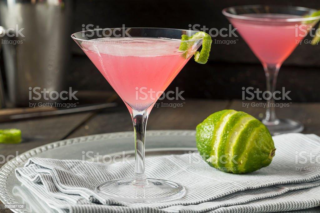 Homemade Pink Vodka Cosmopolitan Drink stock photo