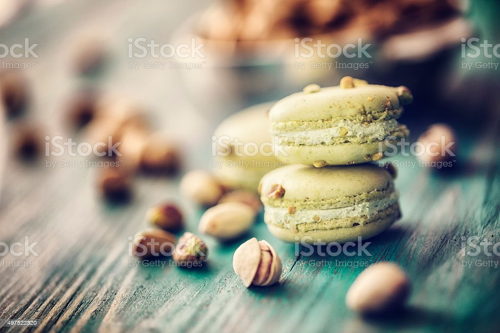 Homemade Pistachio  Macaroons Made Easy stock photo