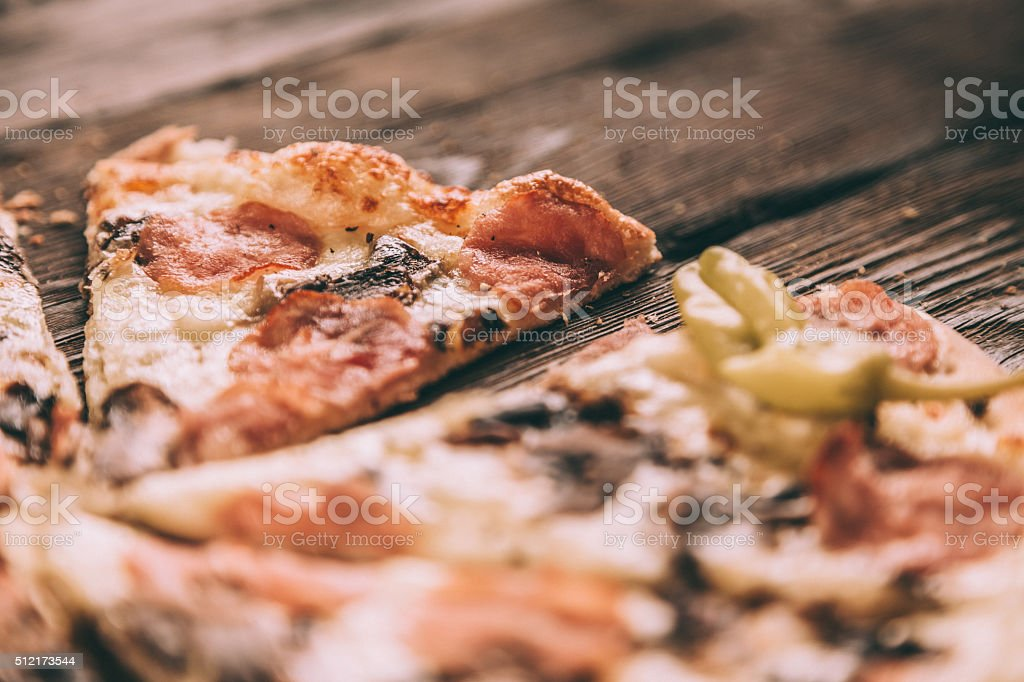 Homemade Pizza Slices with ham and mushrooms stock photo