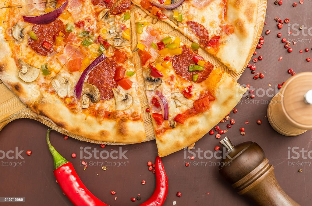 Homemade  Pizza with Pepperoni stock photo