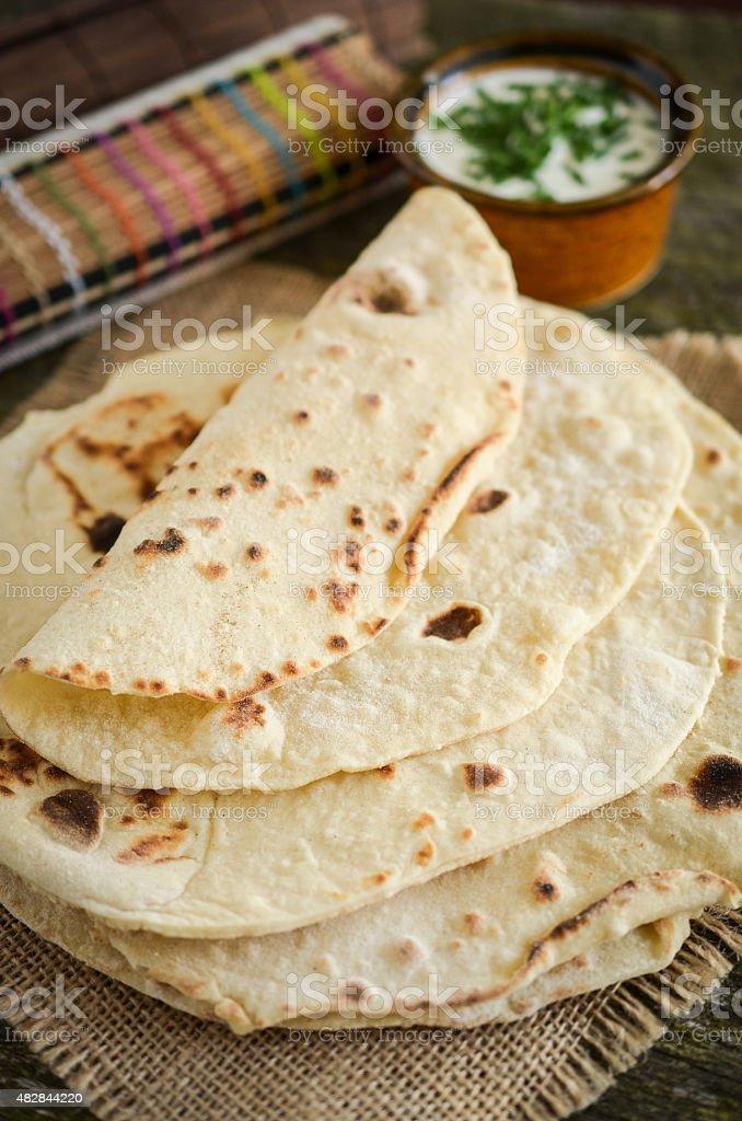 Homemade plain tortillas (mexican food) stock photo
