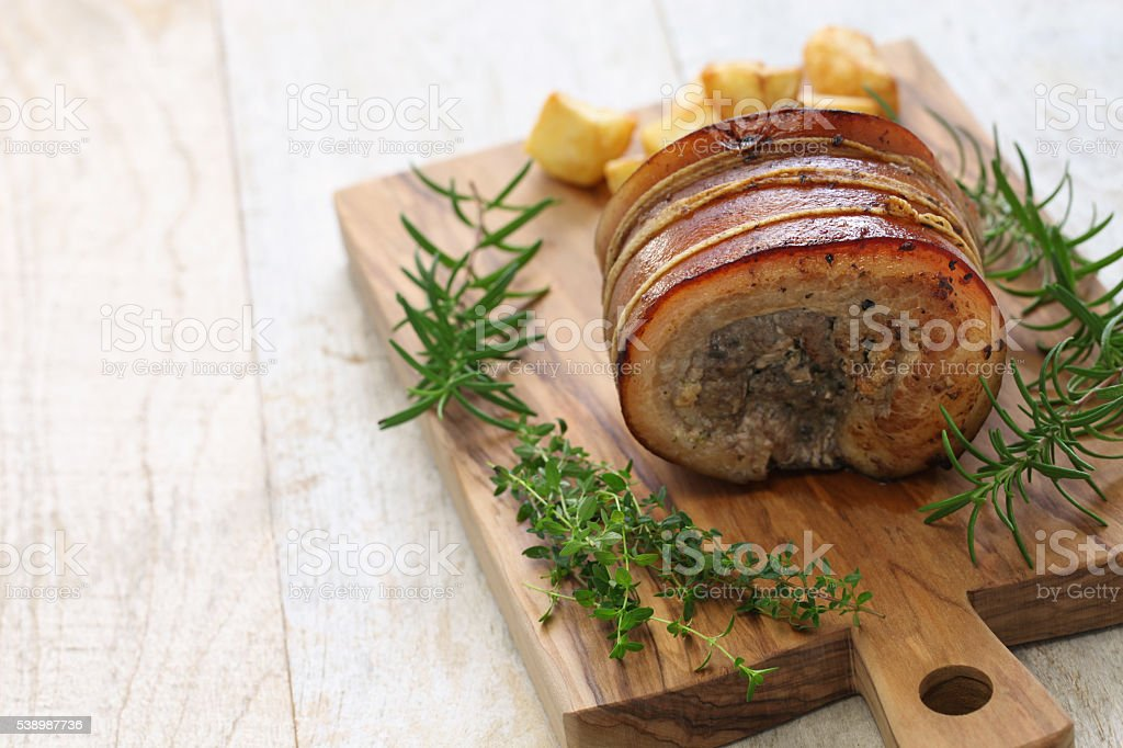 homemade porchetta, italian roast pork stock photo