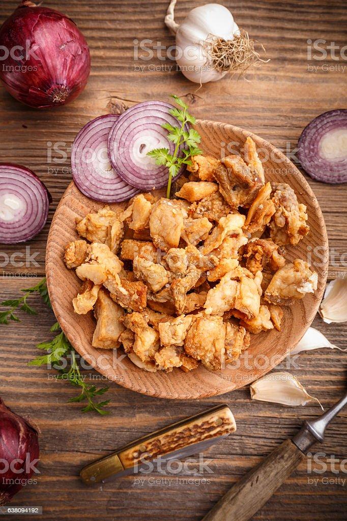 Homemade pork crackling stock photo