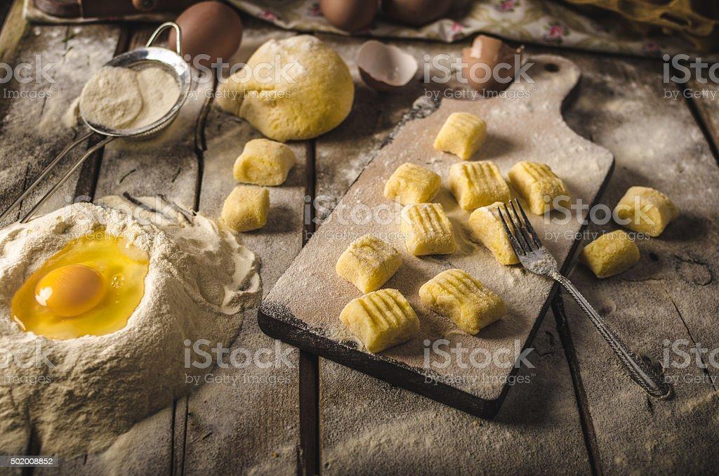 Homemade potato gnocchi stock photo
