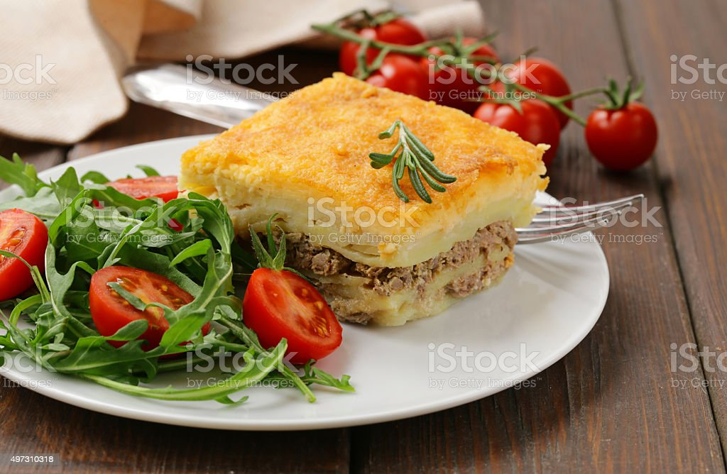 homemade potato gratin with meat and cheese stock photo