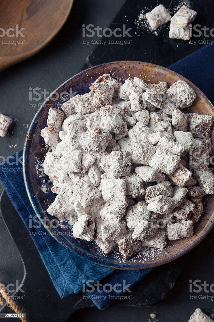 Homemade Powdered Sugar Puppy Chow stock photo