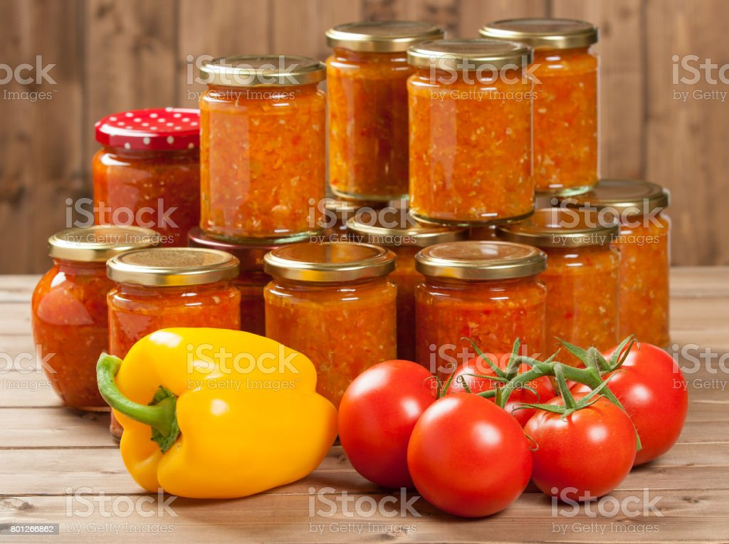 Homemade Preserve With Sweet And Hot Peppers, Tomatoes, Garlic, stock photo