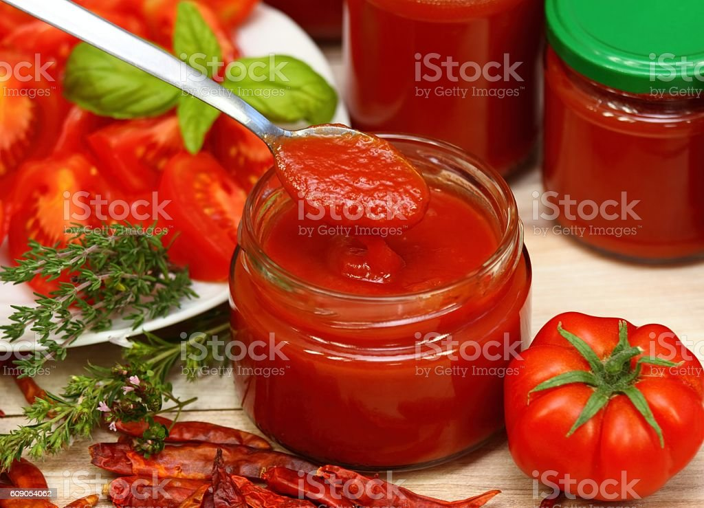 Homemade preserved  ketchup stock photo