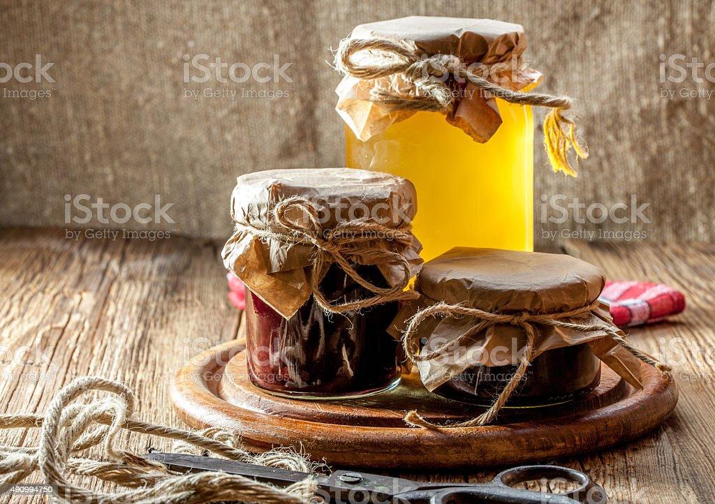 Homemade preserves for the winter. stock photo
