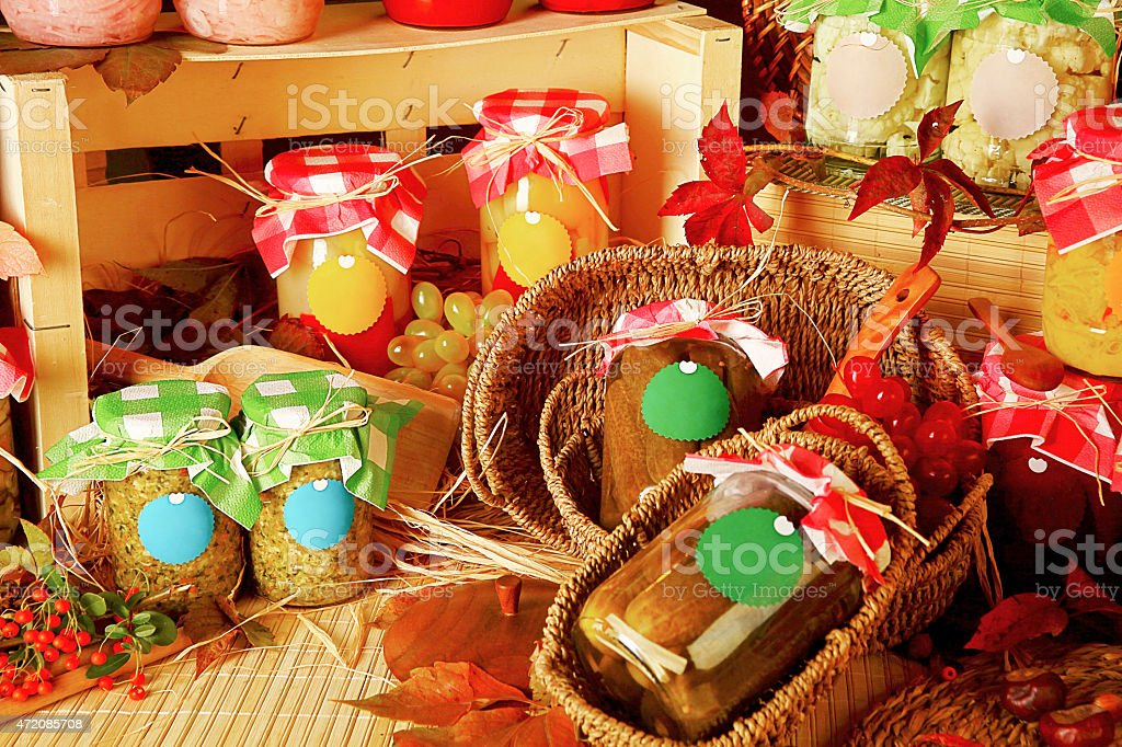 Homemade preserves. Jars of canned pickled vegetables. stock photo