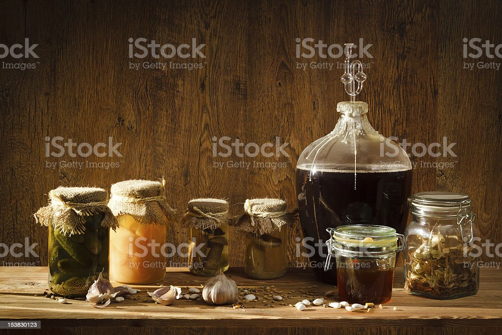 Homemade products in old basement royalty-free stock photo