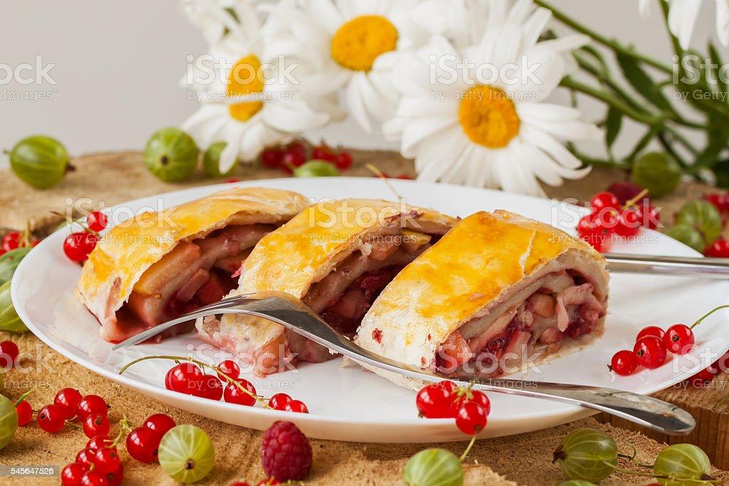 Homemade puff pie with fresh berries stock photo