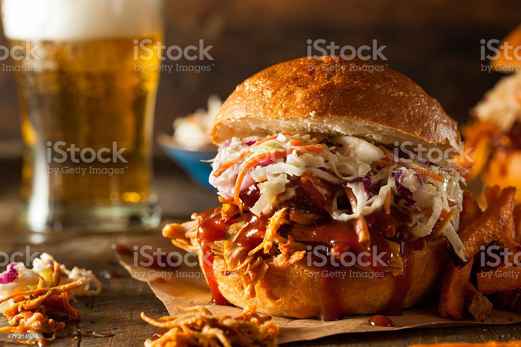 Homemade Pulled Chicken Sandwich stock photo