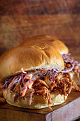 Homemade Pulled Pork Sandwich with Coleslaw