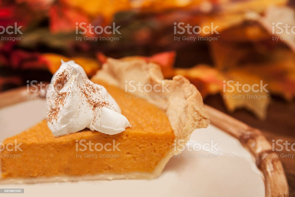Homemade pumpkin or sweet potato pie dessert for Thanksgiving. stock photo
