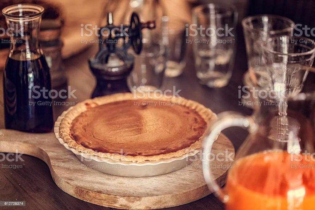 Homemade Pumpkin Pie for Holidays stock photo