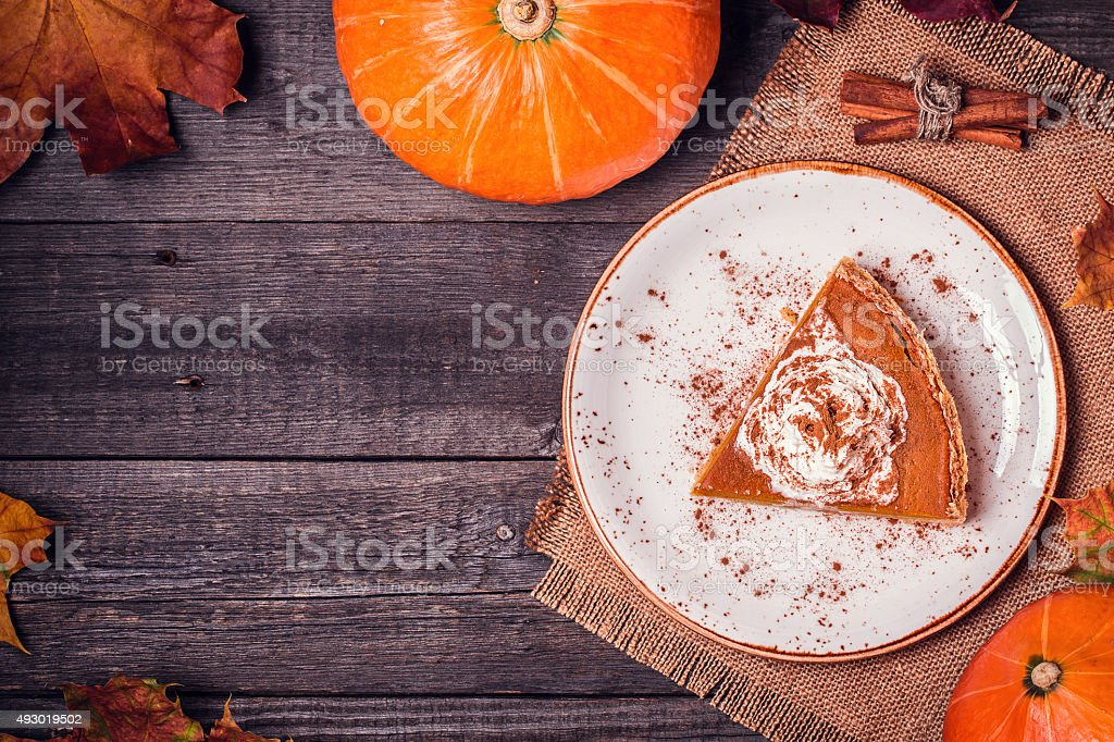 Homemade Pumpkin Pie for Thanksgiving. stock photo