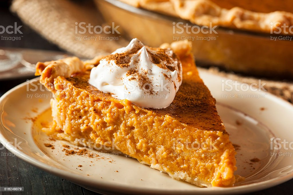 Homemade Pumpkin Pie for Thanksgiving stock photo