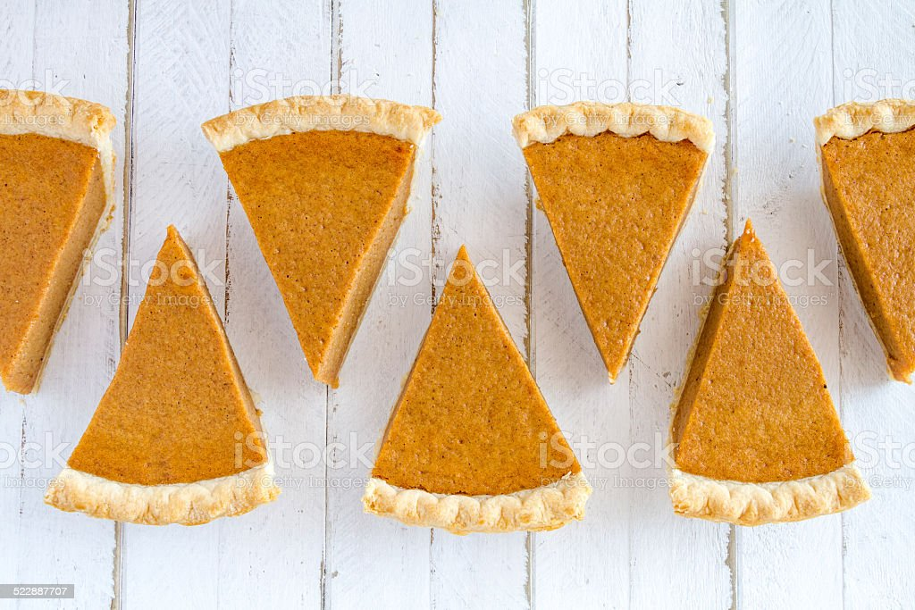 Homemade Pumpkin Pie Slices stock photo