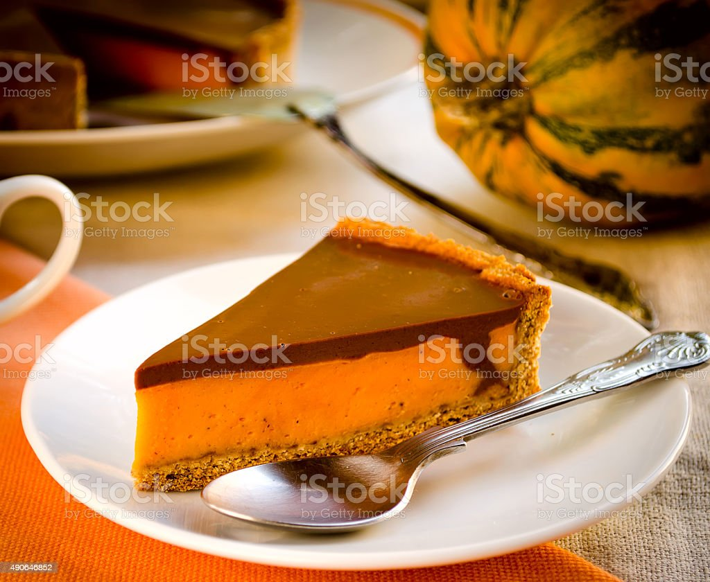 Homemade pumpkin pie with chocolate topping stock photo