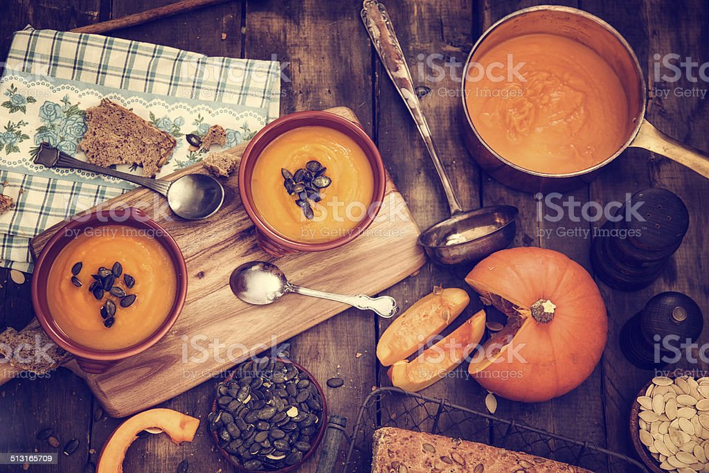Homemade Pumpkin Soup for Autumn Days stock photo