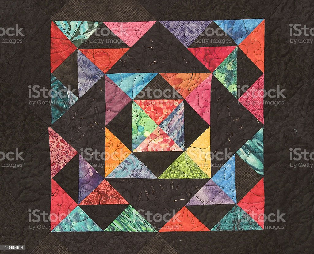 Homemade Quilt with Bright colors stock photo