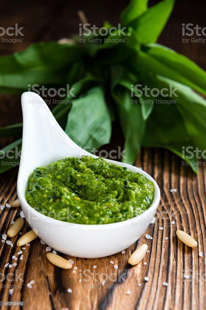 Homemade Ramson Pesto stock photo
