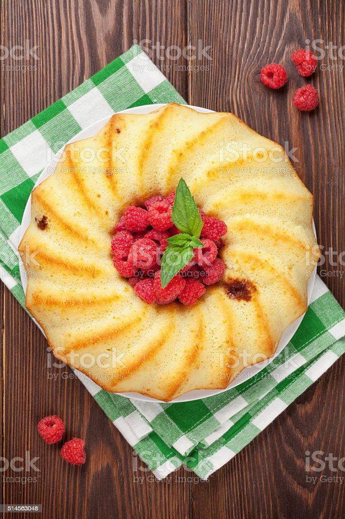 Homemade raspberry cake and berries stock photo