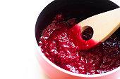 Homemade Raspberry Jam in a Saucepan