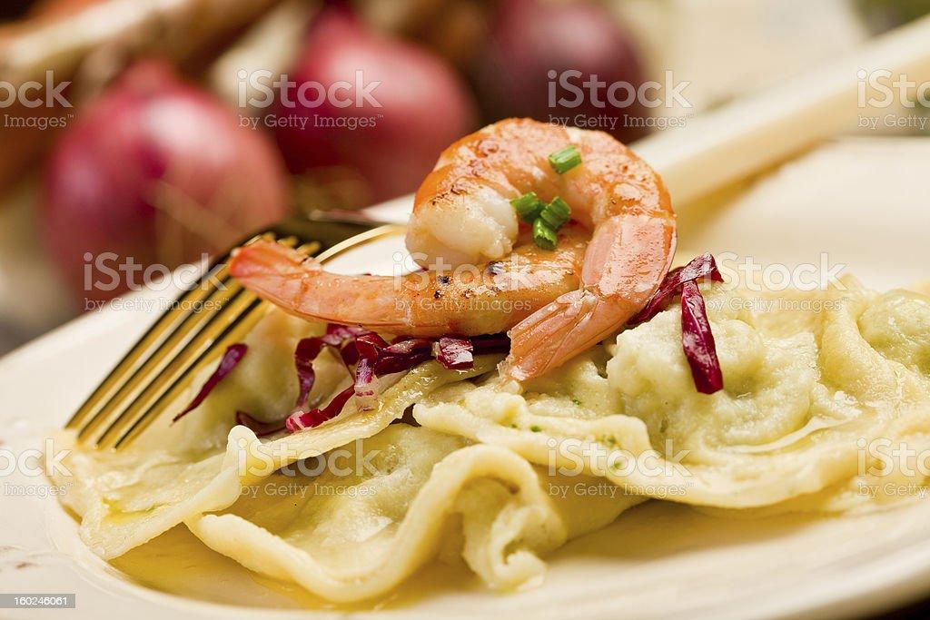 Homemade Ravioli with Shrimps royalty-free stock photo