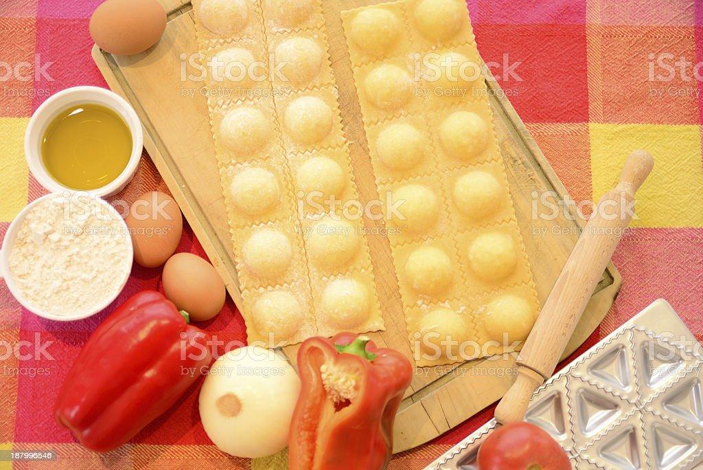 Homemade raviolis. stock photo