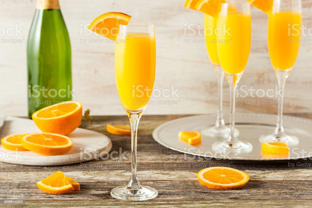Homemade Refreshing Orange Mimosa Cocktails stock photo