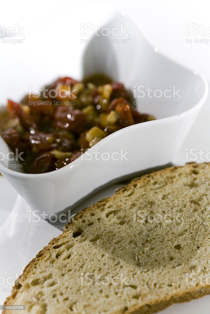 Homemade Relish w. a slice of bread. stock photo