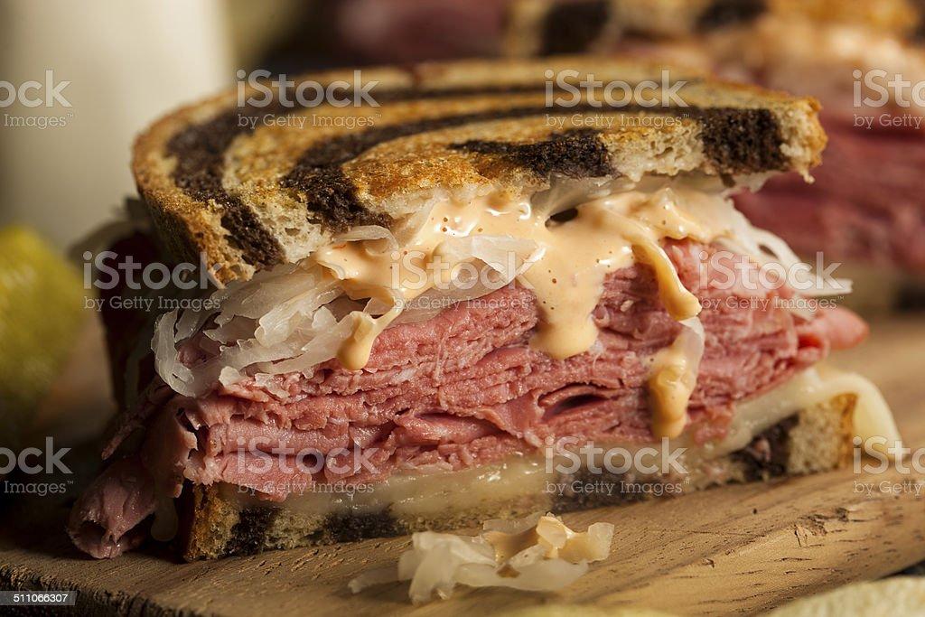 Homemade Reuben Sandwich stock photo