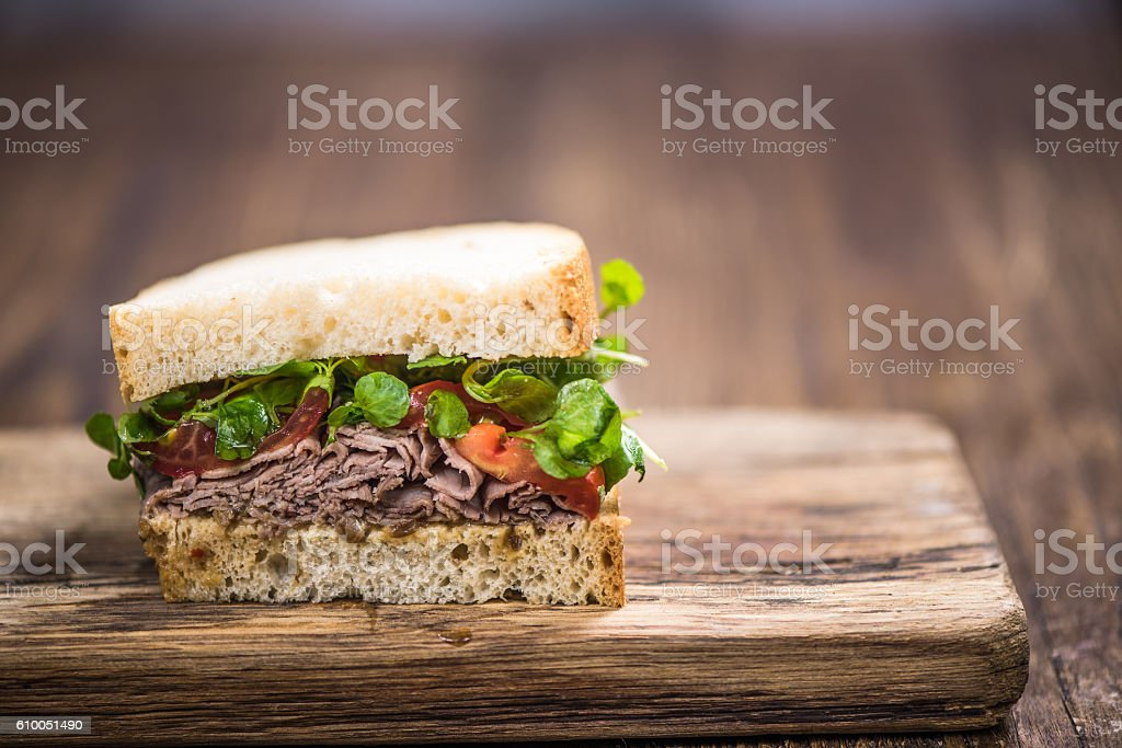 Homemade rich sandwich stock photo