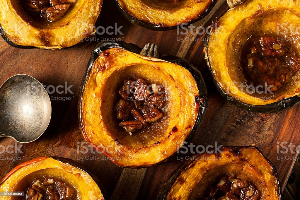 Homemade Roasted Acorn Squash stock photo