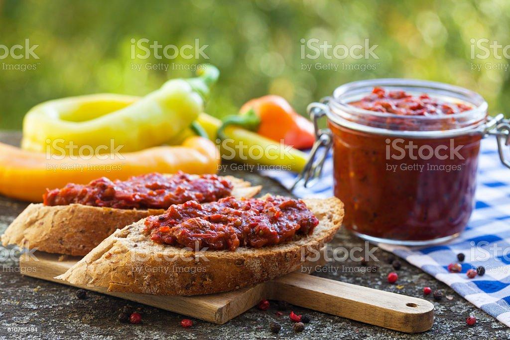 Homemade roasted paprika stock photo