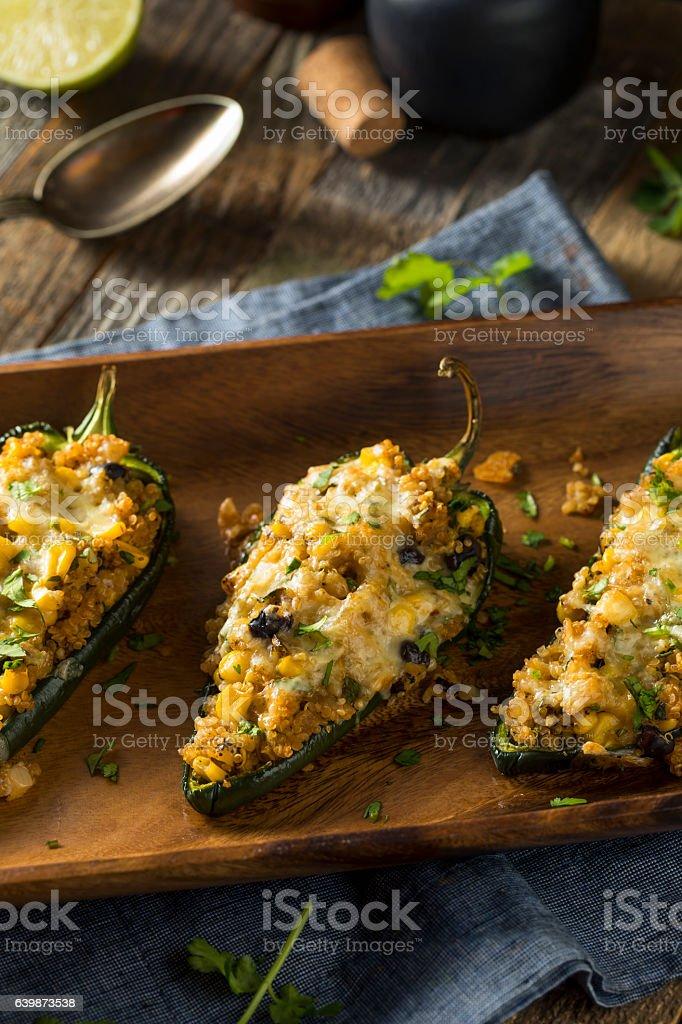 Homemade Roasted Quinoa Stuffed Poblano Peppers stock photo