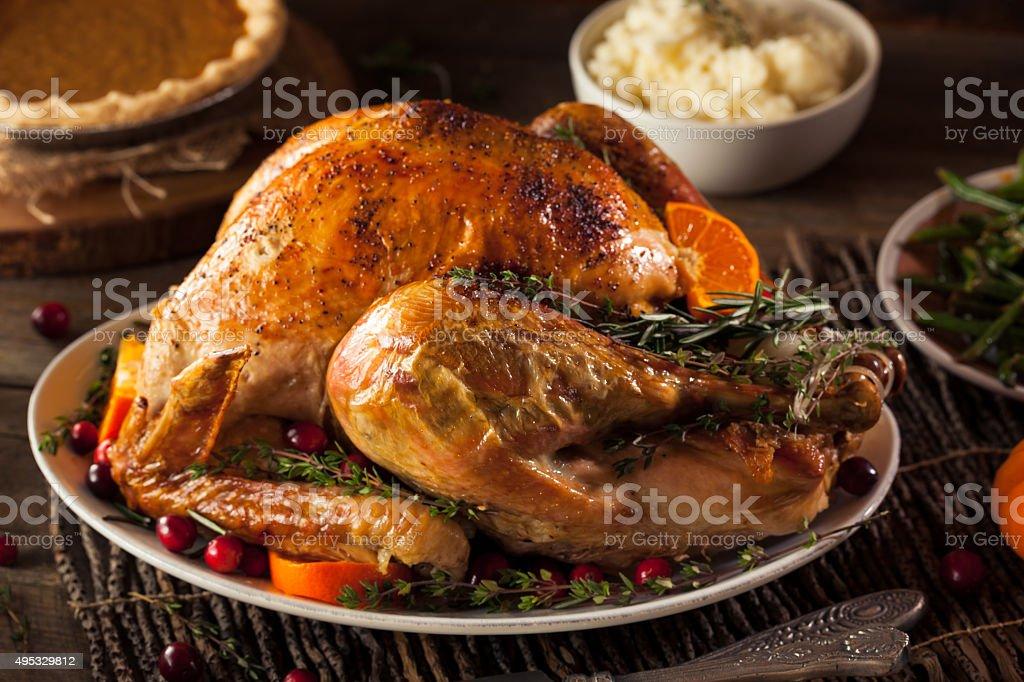Homemade Roasted Thanksgiving Day Turkey stock photo