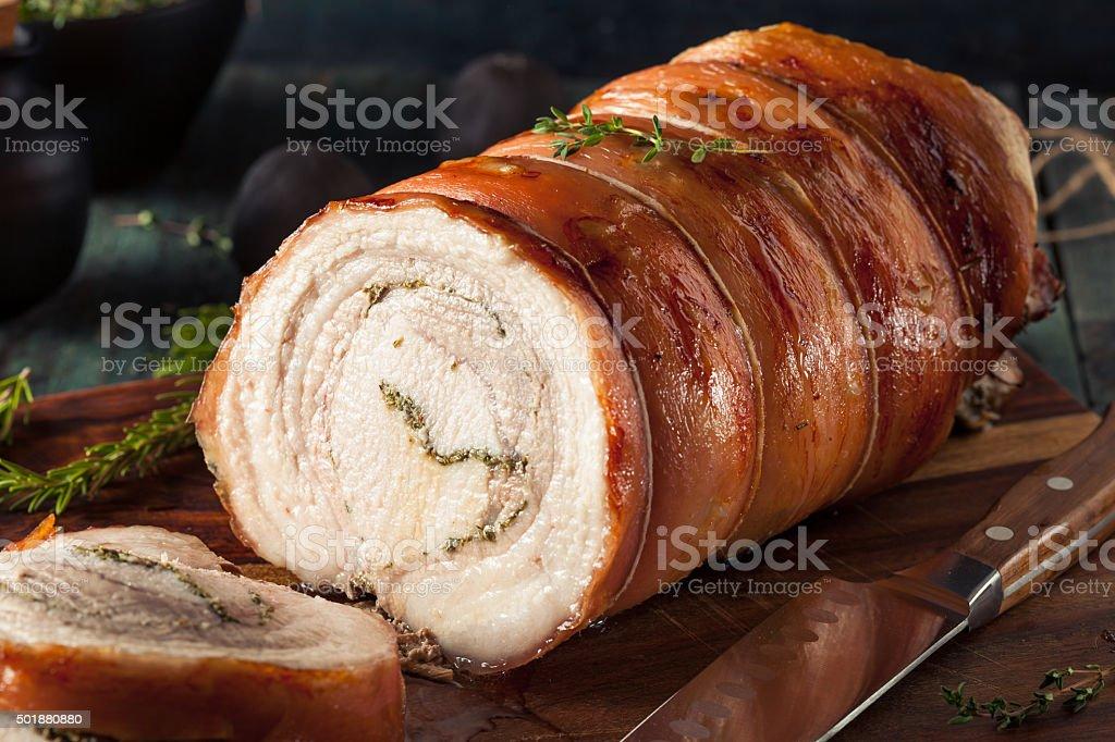 Homemade Rolled Porchetta Roast stock photo