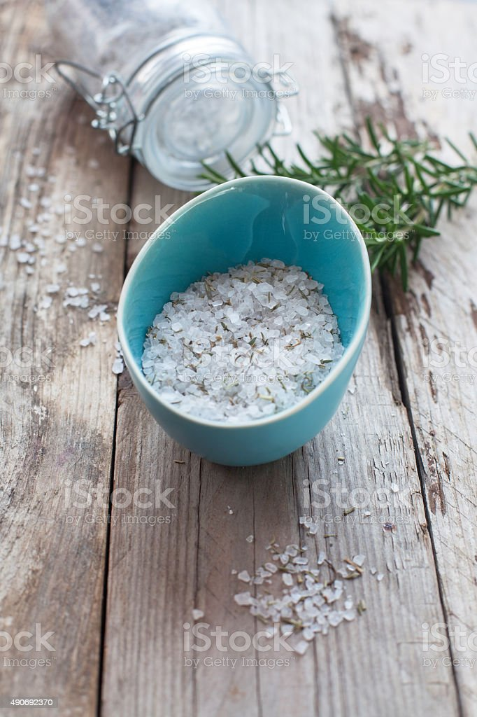 Homemade rosemary sea salt stock photo